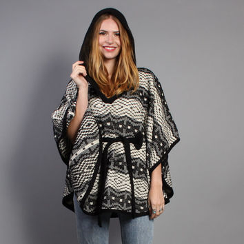 70s B+W Knit CAPE / Belted Poncho Coat with HOOD