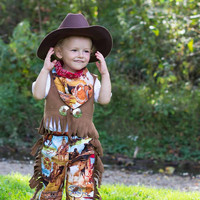 Cowboy Costume for Little Boys, Babies, Toddlers Outfit with Vest Pants Bandanna Birthday Rodeo Western Sheriff PINKMOUSEKIDS