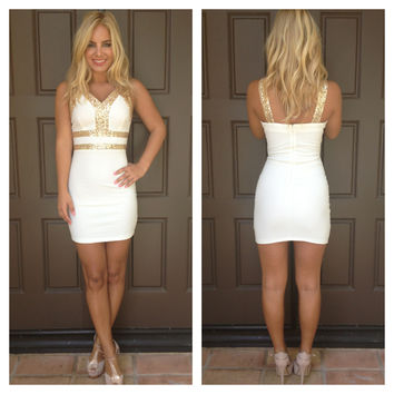 Sparkle In The Moonlight Dress - WHITE