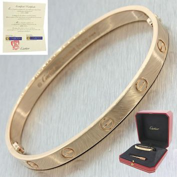 Unworn 2017 Cartier Love 18k Rose Gold Screw Bangle Bracelet Box Papers 16