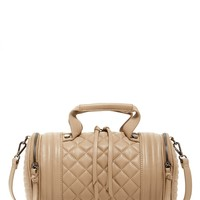 Bpeyton Quilted Barrel Faux Leather Satchel