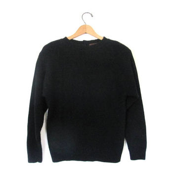 vintage black lambswool and angora pullover sweater with crochet neckline and buttons in the back / size m