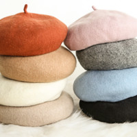 Wild wool beret lady retro woolen casual painter cap simple bud cap