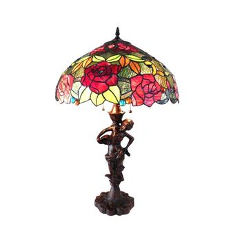 "Peggy, Tiffany-Style 2 Light Roses Table Lamp 18"" Shade"