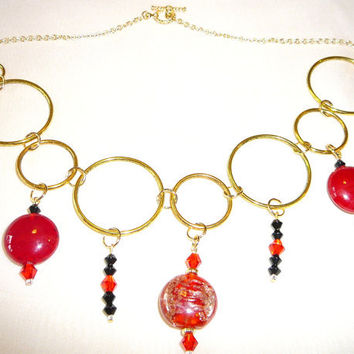 Large Gold Loop Necklace with Dangling Red and Black Glass Beads. Gold Necklace with Red Glass Beads. Beaded Gold Necklace. Jewelry Sale
