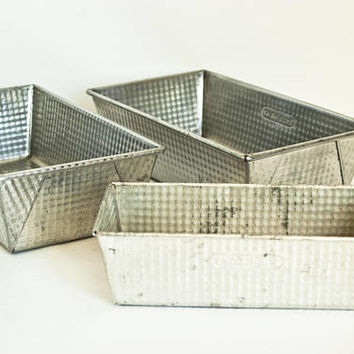 Vintage Ekco Ovenex Loaf Pans, Checker Pattern Bread Cake Baking Tins (Set of 3) Metal Storage Containers