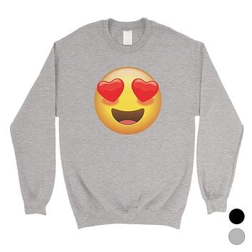 Emoji-Heart Eyes Unisex Crewneck Sweatshirt Perfect Modern Gag Gift
