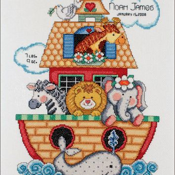 "Noah's Ark Birth Record Counted Cross Stitch Kit 11""X14"" 14 Count"