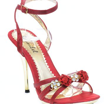 Burgundy Rose Gold Heeled Sandals Criss Cross Anklet Women's Stiletto