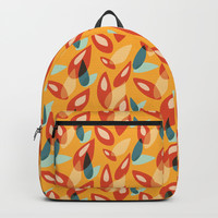 Orange Blue Yellow Abstract Autumn Leaves Pattern Backpack by Boriana Giormova