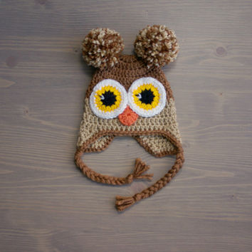 Crochet Brown Owl Hat, Baby Owl Hat, Crochet Baby Hat, Crocheted Baby Hat, Newborn Photography Prop, Baby Shower Gift, Crochet Owl Hat