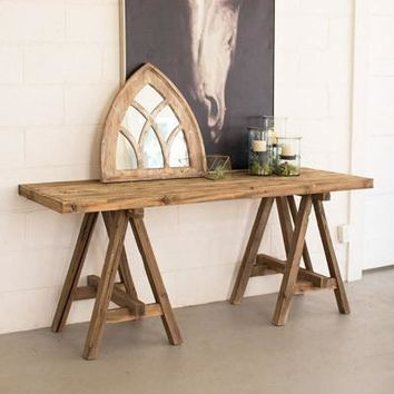 Recycled Wooden Deep Console With Saw Horse Base