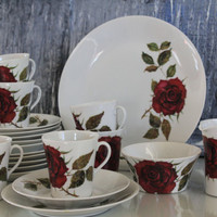 "Roses are red, ""Ruusu"" ""Rose"" porcelain coffee / tea set - serving for 6 or for 8 by Arabia Finland"