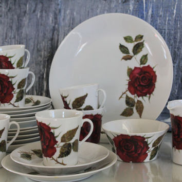 """Roses are red, """"Ruusu"""" """"Rose"""" porcelain coffee / tea set - serving for 6 or for 8 by Arabia Finland"""