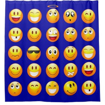 dark blue emojis bathroom shower curtain