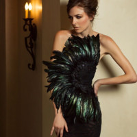 Sulla Off Shoulder Feather Details Elegant Dress