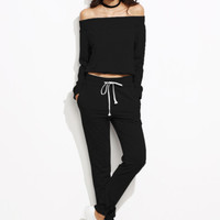 Black Off The Shoulder Top With Drawstring PantsFor Women-romwe