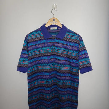 Vintage Mizuno Abstract Fuzzy Sychilla Aztec T Shirt Streetwear Urban Fashion Clothing