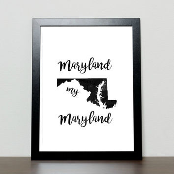Maryland state wall art, printable maryland sign, maryland state sign