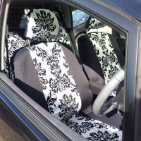 Set of car seat covers; front and rear covers English print DAMASK universal fit.
