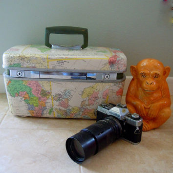 MAPS one of a kind TRAIN CASE upcycled vintage luggage