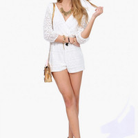 White Lace V Neck Romper
