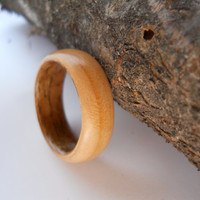 solid cherry ring with walnut band, custom, handmade