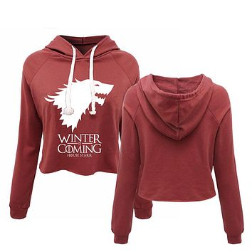 Game of Thrones Winter Coming Cropped Hoodies I'm Not A Princess I'm A Khaleesi Women's Crop Top Pullovers Xmas Gift Let It Snow
