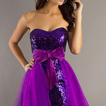 Strapless Purple Sequined Dress by Dave & Johnny