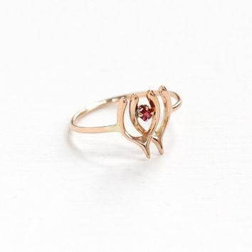Antique 10k Rose Gold Wishbone Garnet Doublet Ring - Vintage Edwardian Art Deco Stick