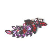 Art Deco Vintage Brooch, 30s Pewter Ruby Red & Purple Rhinestone Brooch
