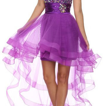 Sparkly Purple High Low Homecoming Dress Sweetheart Remove Skirt