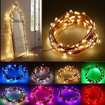 SMILE 10M 33ft Copper Wire 100 LED String Lights, 3 AA Battery Powered Decoration LED Starry Light For Christmas Wedding and Par