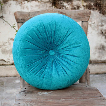 Teal, Peacock velvet round pillow 16""