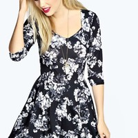 Nalia Mono Floral Printed Skater Dress