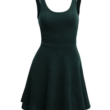 Doublju Sleeveless Flare Dress with Dobby Weaves GREEN (US-S)