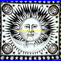 Tiwn Indian Sun Hippie Hippy Tapestry Wall Hanging Throw Cotton Bed cover Bohemian Bed Decor Bed Spread Ethnic Decorative Art Table Cloth