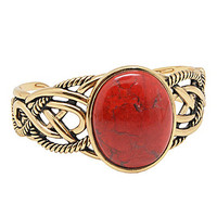 Barse Red Howlite Stone Cuff Bracelet - Gold/Red