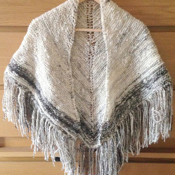 Hand knitted hand spun shawl, jacobs wool/yarn, natural undyed, whites, greys, blacks, browns, tassels, lace pattern down centre back