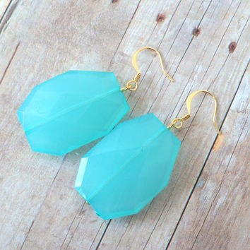 P O O L - Turquoise Blue, Acrylic Faceted Chunky Statement Bead, Gold Plated Dangle Earrings