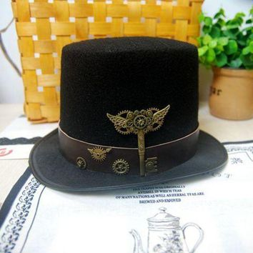 CREY6F New Costume Steampunk Top Hat with Belt & Gears Key Accessories Handmade Trilby Hats Gothic