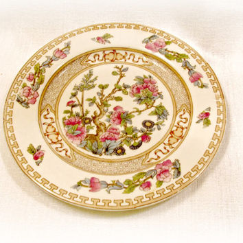 Vintage Plate, Indian Tree, Johnson Brothers, 6.5 inches, Dessert Bread, Home Decor, Asian Garden, Floral, Greek Key Border