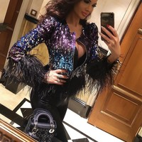 Louvre Glamour Ostrich Feather Jacket