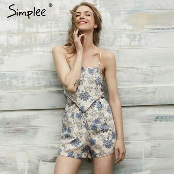 Simplee Elegant floral print jumpsuits romper women Summer beach sleeveless overalls leotard Backless streetwear playsuit 2017