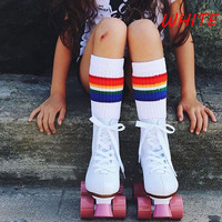 1 Pair Baby Kids Boy Girl Knee High Rainbow Striped Tube Socks Autumn  baby Warm Socks