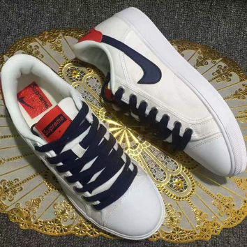 LMFUX5 Supreme x Nike Retro Air Jordan Sky OG Low White Blue Red Shoes Sport Canvas Shoes