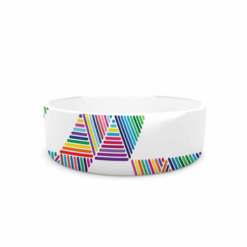 "Fimbis ""Rainbow Rain"" Multicolor White Pet Bowl"
