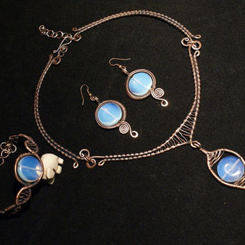 Copper jewelry set,moonstone necklace,set,earring-ring,necklace,wire wrapped jewelry handmade