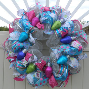 Pink Blue Teal Purple Deco Mesh Christmas Wreath, Birthday Wreath, Christmas Light Holiday light wreath, Unique Winter Wreath