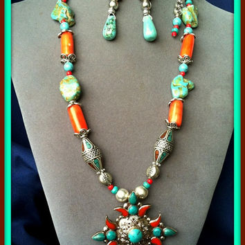 Nepal Necklace Pendant Big Cross Turquoise Coral Silver Inlay w/Earrings Ethnic Handmade Semi Precious Beaded Jewelry Necklace Made in Italy